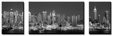 West Side Skyline at Night in Black and White  New York  USA
