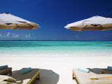 Deck Chairs and Tropical Beach  Maldives  Indian Ocean  Asia