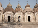 Woman with Broom Emerging from One of 108 Shiva Temples  Kalna  West Bengal  India