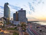 Elevated Dusk View of the City Beachfront  Tel Aviv  Israel  Middle East