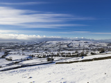 Looking over Snowy Fields in the Peak District National Park  Staffordshire  England  UK  Europe