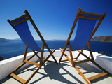 Deck Chairs on Terrace Overlooking Ocean  Santorini  Cyclades  Greek Islands  Greece  Europe