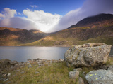 View over Llyn Llydaw Looking at Cloud Covered Peak of Snowdon  Snowdonia National Park  Wales  UK