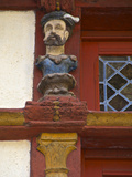 Detail of Wood Sculptures on Keratry Mansion House  Old Town  Dinan  Brittany  France