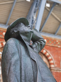 The Statue of Sir John Betjeman at St Pancras International Station in London  England  UK  Europe