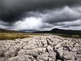 Dark Clouds over Ingleborough from Twisleton Scar  Yorkshire Dales  Yorkshire  England