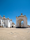 Exterior of Copacabana Cathedral with Crystal Blue Sky  Bolivia  South America  Oct 2007