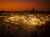 View at Sunset across DJemaa el Fna  Marrakech  Morocco  North Africa  Africa