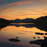 View of the Snowdon Horseshoe at Sunset from Llynau Mymbyr  Capel Curig  Wales  UK  Europe