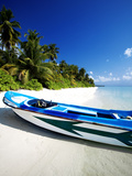 A Small Dinghy on a Tropical Beach  Maldives  Indian Ocean  Asia
