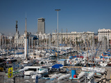 View of Port Vell Showing Columbus Monument  Barcelona  Catalonia  Spain  Europe