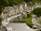 Boats and Houses Along the Banks of the River Rance  Dinan  Cotes D'Armor  Brittany  France  Europe