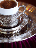 Turkish Coffee Served in Ornate Silver Cup and Dish  Turkey  Eurasia