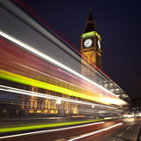 Traffic Light Trails in Front of Big Ben  Houses of Parliament  London  England  UK  Europe