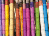 Sari Lengths of Brightly Coloured Cotton  Hand Woven on Village Looms  Kalna  West Bengal  India