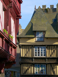 Medieval Corbelled and Half Timbered Mansions  in Cobbled Street  Old Town  Dinan  Brittany  France