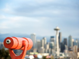 Telescope with View of Seattle Skyline in Distance  Kerry Park  Seattle  Washington State  USA