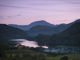 Looking Down the Gwynant Valley over Llyn Gwynant at Dusk  Wales  United Kingdom  Europe
