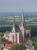 View East over Rhine Valley with St Katherine's Church in Oppenheim  Rhineland Palatinate  Germany