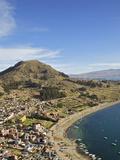 View of Copacabana and Lake Titicaca from Cerro Calvario  Copacabana  La Paz Department  Bolivia
