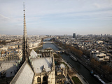 View from Notre Dame Cathedral Roof  Paris  France  Europe
