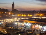 View over Market Square at Dusk  Place Jemaa el Fna  Marrakesh  Morocco  North Africa  Africa