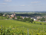 View East over Rhine Valley and St Katherine's Church  Oppenheim  Rhineland Palatinate  Germany