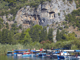 Lycian Tombs of Dalyan with Boats Below  Dalyan  Anatolia  Turkey  Asia Minor  Eurasia