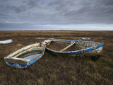 Two Old Boats on the Saltmarshes at Burnham Deepdale  Norfolk  England