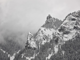 Snow-Covered Mountains Covered with Fog  Ouray County  Colorado  USA  North America