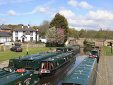 Narrow Boats  Pontcysyllte Canal  UNESCO World Heritage Site  Dee Valley  Denbighshire  Wales   UK