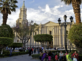 Plaza de Armas  Arequipa Cathedral in Background  Arequipa  Peru  South America