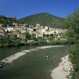 View over River Orb  Roquebrun  Languedoc-Roussillon  France  Europe