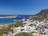 Lindos and the Acropolis  Rhodes  Dodecanese  Greek Islands  Greece  Europe