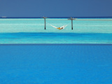 Infinity Pool and Hammock in Lagoon  Maldives  Indian Ocean  Asia