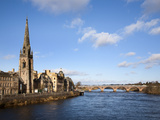 St Matthews Church and the River Tay  Perth  Perth and Kinross  Scotland