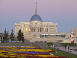 The Ak Orda  Presidential Palace of President Nursultan Nazarbayev at Twilight  Astana  Kazakhstan