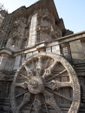 Carved Chariot Wheel on Wall of Konarak Sun Temple  UNESCO World Heritage Site  Konarak  India