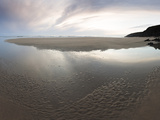 Sunset Sky Reflected in Beach Stream at Sandymouth Bay  Cornwall  England  United Kingdom  Europe
