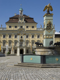 Courtyard Palace Buildings and Fountain  18th Century Baroque Residenzschloss  Ludwigsburg  Germany