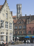 Flemish Gables over Street Cafes with Belfry  Brugge  UNESCO World Heritage Site  Belgium