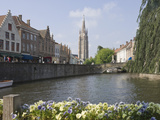 Canal View with the Spire of the Church of Our Lady  Brugge  Belgium  Europe