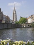 Canal Scene with the Spire of the Church of Our Lady  Brugge  Belgium  Europe
