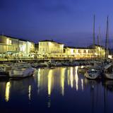 The Harbour with Restaurants at Dusk  St Martin  Ile de Re  Poitou-Charentes  France  Europe