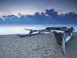 Oruwa (Outrigger Canoe) on Beach at Sunset  Negombo  North Western Province  Sri Lanka  Asia