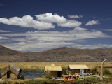 Floating Islands of Uros People  Traditional Reed Boats and Reed Houses  Lake Titicaca  Peru