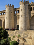 Fortified Walls and Towers of Aljaferia Palace from 11th Century  Saragossa (Zaragoza)  Spain