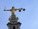 Statue of Lady Justice with Sword  Scales and Blindfold  Central Criminal Court  London  England