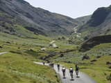 Cyclists Ascending Honister Pass  Lake District National Park  Cumbria  England  UK  Europe
