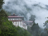 View of the Dzong with Hills and Fog  Trongsa  Bhutan  Asia